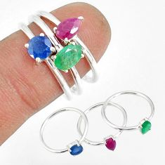 3.14cts natural green emerald ruby sapphire 925 silver 3 rings size 9 t17558