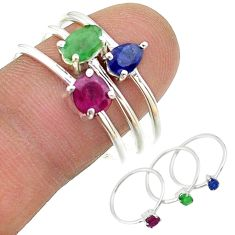 2.82cts natural green emerald ruby sapphire 925 silver 3 rings size 9 t17560