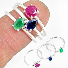 3.01cts natural green emerald sapphire 925 silver 3 rings size 6.5 r79823