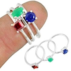 2.97cts natural green emerald sapphire 925 silver stackable ring size 5.5 r79965