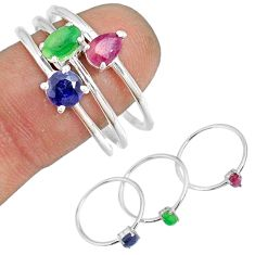 3.41cts natural green emerald sapphire 925 silver stackable ring size 9.5 r79967