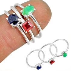 2.98cts natural green emerald sapphire 925 silver stackable ring size 6 r79966