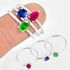 2.98cts natural green emerald sapphire ruby 925 silver 3 rings size 7.5 r79816