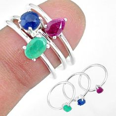 3.36cts natural green emerald sapphire ruby 925 silver 3 rings size 6.5 r92361