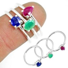 2.72cts natural green emerald sapphire ruby 925 silver 3 rings size 6 t17567