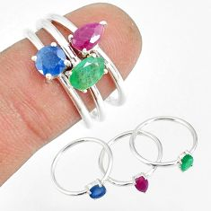 2.82cts natural green emerald sapphire ruby 925 silver 3 rings size 7 r79811