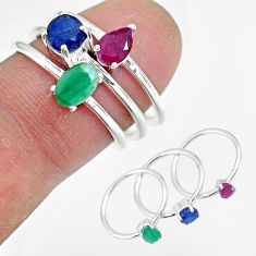 3.36cts natural green emerald sapphire ruby 925 silver 3 rings size 7 r92363