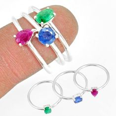 2.81cts natural green emerald sapphire ruby 925 silver 3 rings size 7 t17569