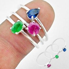 3.13cts natural green emerald sapphire ruby 925 silver 3 rings size 7 t50927