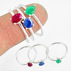 3.14cts natural green emerald sapphire ruby 925 silver 3 rings size 8 r79812
