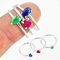 2.97cts natural green emerald sapphire ruby 925 silver 3 rings size 8 r79818