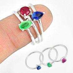 2.97cts natural green emerald sapphire ruby 925 silver 3 rings size 8 r79820