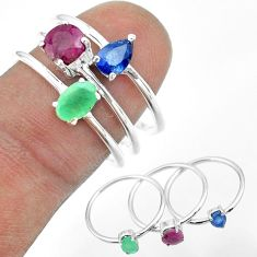 3.28cts natural green emerald sapphire ruby 925 silver 3 rings size 8 t50961