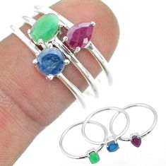 3.28cts natural green emerald sapphire ruby 925 silver 3 rings size 8 t50963