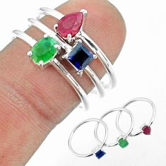2.81cts natural green emerald sapphire ruby 925 silver 3 rings size 8 t50994