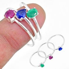 2.84cts natural green emerald sapphire ruby 925 silver 3 rings size 6.5 t17566