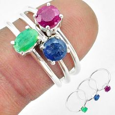 3.23cts natural green emerald sapphire ruby 925 silver 3 rings size 5.5 t50910