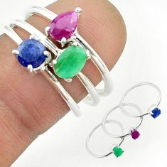 3.14cts natural green emerald sapphire ruby 925 silver 3 rings size 6.5 t50915