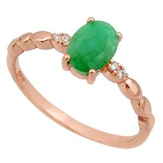 1.95cts natural green emerald topaz 925 silver 14k rose gold ring size 7 c26302