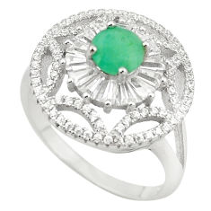Natural green emerald topaz 925 sterling silver ring size 8.5 c17892