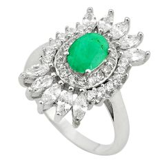 Natural green emerald topaz 925 sterling silver ring size 6.5 c17948