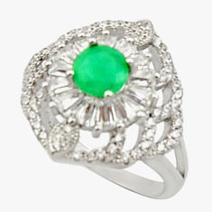 6.03cts natural green emerald topaz 925 sterling silver ring size 6.5 c9841