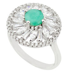 Natural green emerald topaz 925 sterling silver ring size 7 c17861