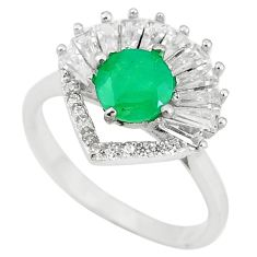 Natural green emerald topaz 925 sterling silver ring size 8 c17960