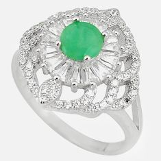 Natural green emerald topaz 925 sterling silver ring size 8 c17959