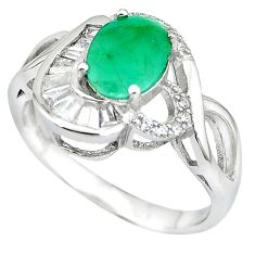 Natural green emerald topaz 925 sterling silver ring size 9 c17738