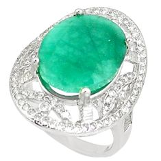 8.14cts natural green emerald white topaz 925 silver ring size 5.5 c17895