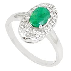 3.65cts natural green emerald white topaz 925 sterling silver ring size 9 c17897