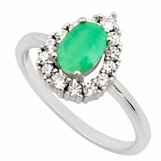 3.14cts natural green emerald white topaz 925 sterling silver ring size 8 c9849