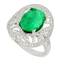 6.04cts natural green emerald white topaz 925 sterling silver ring size 8 c9929