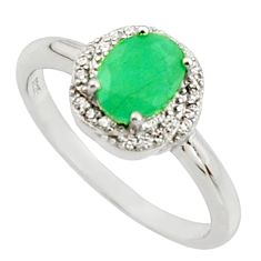 3.87cts natural green emerald white topaz 925 sterling silver ring size 9 c9842