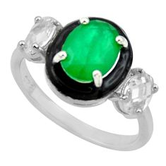 4.84cts natural green emerald white topaz enamel 925 silver ring size 8 c26290