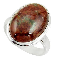 11.15cts natural green grass garnet 925 silver solitaire ring size 6.5 r39632