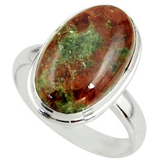 9.47cts natural green grass garnet 925 silver solitaire ring size 8.5 r39633
