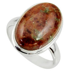 12.07cts natural green grass garnet 925 silver solitaire ring size 7.5 r39634