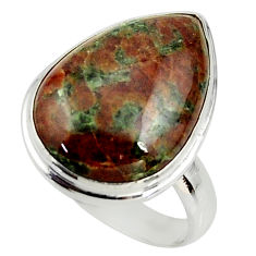 14.40cts natural green grass garnet 925 silver solitaire ring size 8.5 r39637