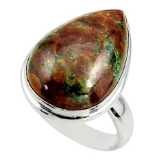 14.07cts natural green grass garnet 925 silver solitaire ring size 7.5 r39638