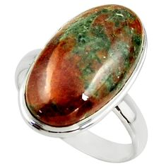 14.90cts natural green grass garnet 925 silver solitaire ring size 10 r39628