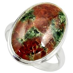 17.18cts natural green grass garnet 925 silver solitaire ring size 10 r39629