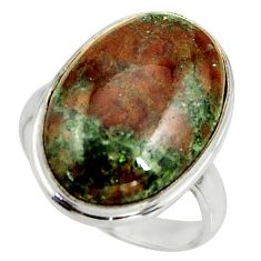 14.72cts natural green grass garnet 925 silver solitaire ring size 8 r39623