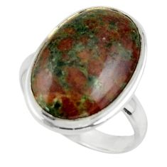 16.10cts natural green grass garnet 925 sterling silver ring size 10 r44868