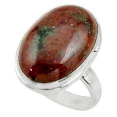 14.06cts natural green grass garnet 925 sterling silver ring size 7 r44873