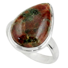 14.15cts natural green grass garnet 925 sterling silver ring size 8 r44872
