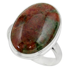 16.10cts natural green grass garnet 925 sterling silver ring size 9 r44871