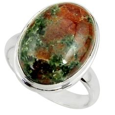 13.77cts natural green grass garnet oval silver solitaire ring size 7.5 r39624