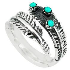 Natural green kingman turquoise 925 silver adjustable ring size 8 c10383
